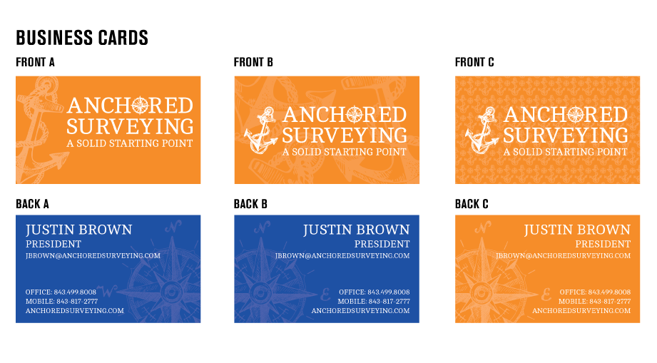 Anchored Surveying Initial Logo Design Concepts