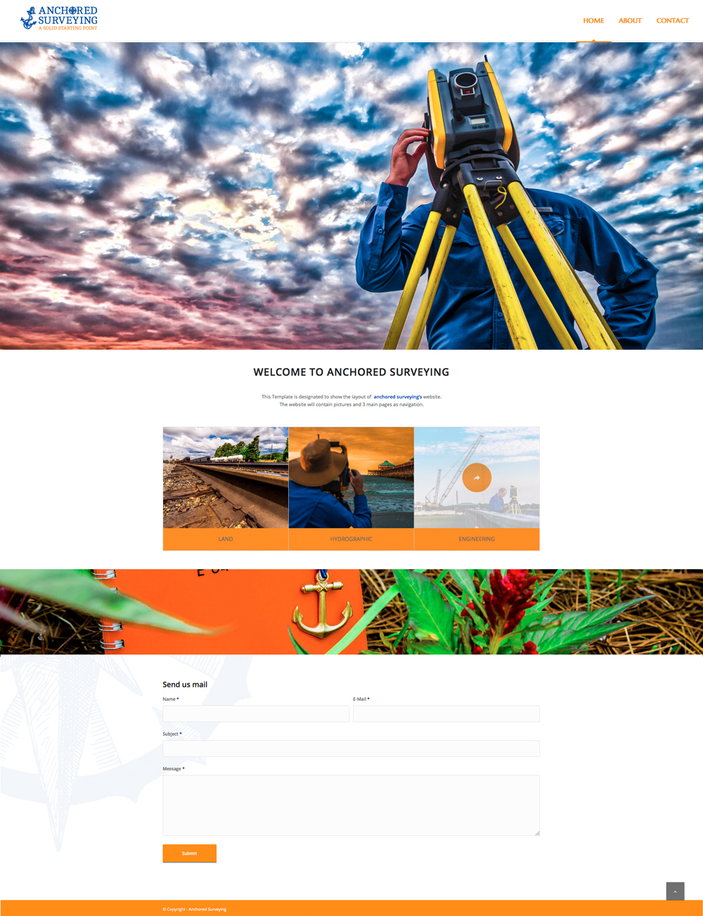 Anchored Surveying website layout